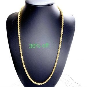 "Jewelry - 14K GOLD FILL ROPE CHAIN NECKLACE 20"" UNISEX"